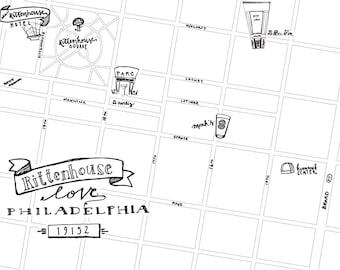 Rittenhouse Hand-Drawn Map Philadelphia 8x10