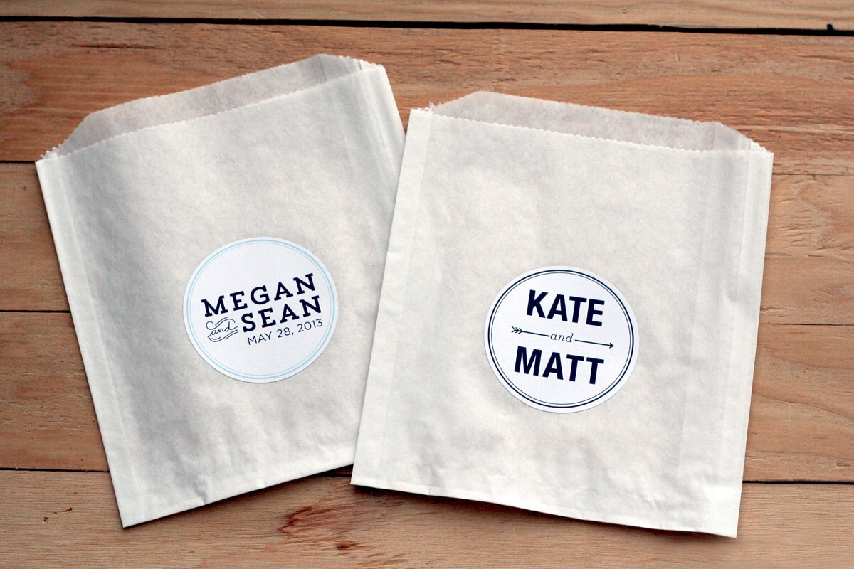 25 Custom Wedding Stickers / Favor Bags / Personalized
