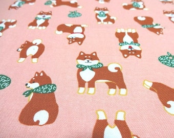 SALE Japanese Fabric Kawaii Dog Shibaken Pink Fat Quarter