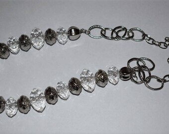 Silver and clear chunky beaded necklace
