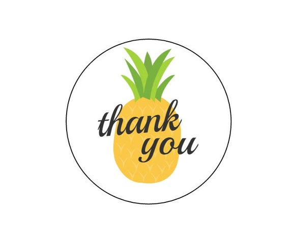 20 pineapple thank you stickers summer birthday pineapple