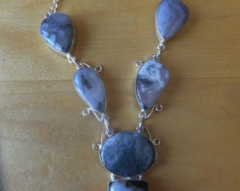 Gorgeous Moss Agate and Sterling Silver Necklace