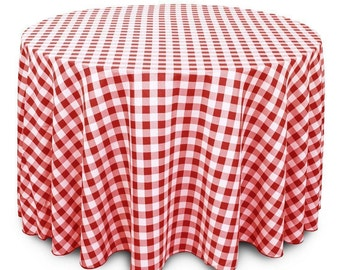 Red and White Checkered Gingham Polyester Tablecloth