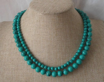 Turquoise Necklaces,Pure Natural Turquoise necklace,Wedding Jewelry,Necklace,Two strands necklace,Wedding necklace,Jewelry