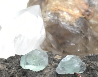 Fluorite Crystal Shard Stud Earrings - Pale Sea Green - Sterling Silver Post - Raw, Rough Stone - Natural Mineral Beauty