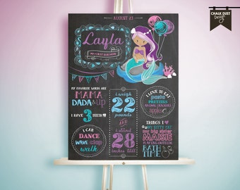 "Custom MERMAID nautical chalkboard style first or any age birthday milestone poster. Under the sea, nautical 18 x 24"" digital file."