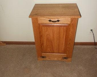 Oak Tilt out Trash Can/ Trash Bin/Hamper Cabinet