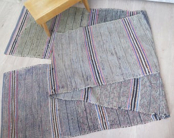 Vintage Extra Long Handwoven Floor Runner, 174,8 x 22,8 inch, Cotton Woven Gray Black Blue Striped Rug Rag Scandinavian Home Interior #3-23