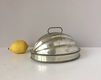 English Pudding Mold, Melon Shaped Mold, Vintage Tin Bakeware, Rustic Kitchen Cookware, Bread Jello Gelatin Aspic Cake Ice Cream