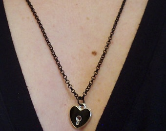 Silver and Black Enamel Heart Charm submissive Day Collar necklace on a BLACK CHAIN for BDSM sub/slave