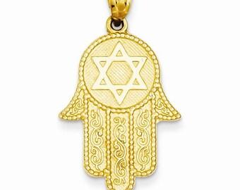 Hand of god pendant etsy 14k yellow gold hand of god hamsa chamseh with star of david pendant charm lkqk5103 aloadofball Choice Image