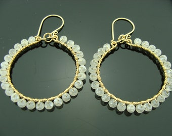 White Pearl Chalcedony Hoops 14K Gold Filled Gemstone Earrings