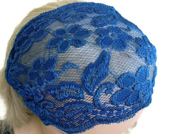 Midnight blue Stretch Lace Headband, Bridesmaids Hair Wrap-Summer fashion-Lace headbands (0016)