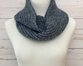 Faux Knit Infinity Scarf in Denim, crochet scarf, crochet infinity scarf, crochet cowl