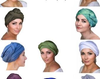 Charcoal Gray Turban, Chemo Hat, Head Wrap, Alopecia Scarf, Dreads wrap, Hijab, One Piece Wrap, Jersey knit,