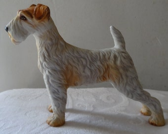 Figurine vintage bisque wire fox terrier dog