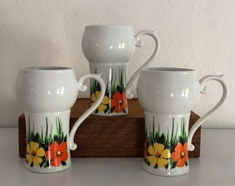 Floral Mugs Set of 3 Coffee Cups Cappuccino Latte Vintage Distressed White Ceramic Tall Green Orange Yellow Flowers Mod
