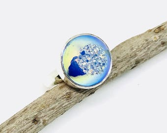 Druzy Ring set in sterling silver (92.5). Size -5.