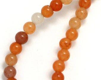 10 x 6mm Peach Aventurine round beads