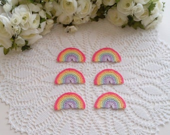 6 Crochet Rainbows in pastel colors - 3 x 1 3/4 inch or 7.5 x 4,5 cm