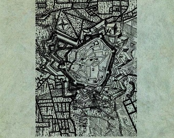 ATC Background Detailed Old City Map Plan - Antique Style Clear Stamp