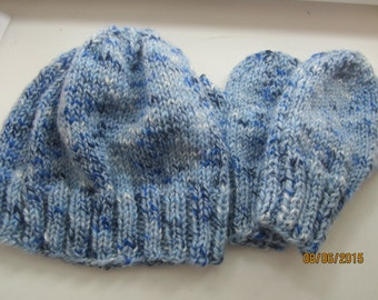 Toddlers Handknit Beanie and Mitten set 2 years acrylic  Hat ribbed edge shades of blue