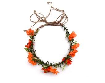 Sunshine Daydreamin' flower crown | orange woodland flower crown halo | floral headpiece for weddings, bachelorette, music festivals