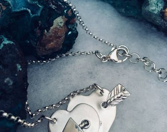 Two Hearts  joined with a Piercing Arrow ~ Hand created ~  999 Fine Silver One of a Kind -  935 Argentium Rolo chain