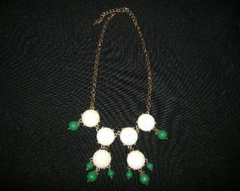 Beautiful Vintage Gold Tone Nicklace with White Gems and Green Beads