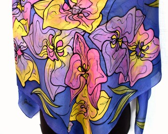 """Hand Painted Silk Scarf, Floral, Orchids Silk Scarf, Purple Pink Yellow Indigo, 35"""" Square Silk Scarf"""