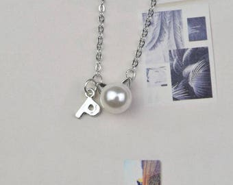 personalized initial cat necklace dainty delicate silver monogram necklace bridesmaid necklace
