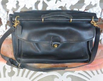 Coach Black Briefcase - Fine Leather, Brass Hardware, Roomy, Attorney Case - Vintage - Fabulous!