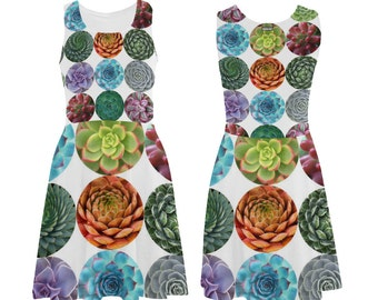 Succulents Skater Dress - printed flared tank dress - women's dress - photographic succulents dress - USA XS-3XL