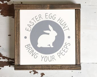 """Easter Sign   Bring Your Peeps   Spring Decor 8"""" x 8"""" Sign"""