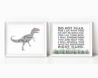 Custom T Rex DINOSAUR Nursery Art Print and Bible Verse Print, SET of TWO, Kids Wall Decor, Wall Art Print Kids, Christian Scripture Print