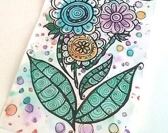 ORIGINAL Zentangle Watercolor Doodle Flowers | Bohemian Trippy Hippie