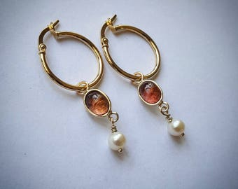 9ct Gold Tourmaline and Pearl hoop Earrings