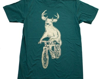 Deer on a Mountain Bike- Mens T Shirt, Unisex Tee, Cotton Tee, Handmade graphic tee, Bicycle shirt, Bike Tee, sizes xs-xxl