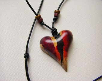 5th Anniversary, Wood Heart Necklace, Heart Jewelry, Valentine Heart, One Of A Kind
