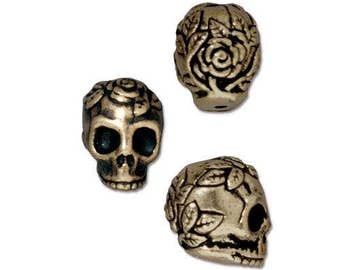 TierraCast Sugar Skull Beads, ROSE SKULL Vertical Hole, Antique Brass 10mm, Qty 4 to 20 Bronze Top Drilled Halloween Day of the Dead Jewelry