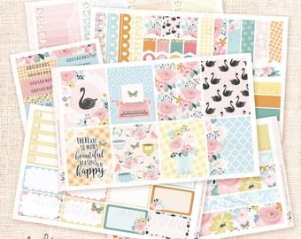 Secret Garden - Planner sticker kit / 6 sheets - for Erin Condren, Happy Planner