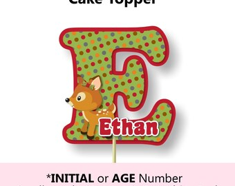 Woodland Animals Cake Topper and Baby Shower Decorations, Forest Birthday Party - invitation, banner, decor, invite, table centerpiece