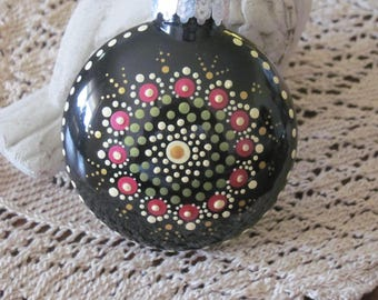 Hand Painted Christmas Ornament, Mandela desgn
