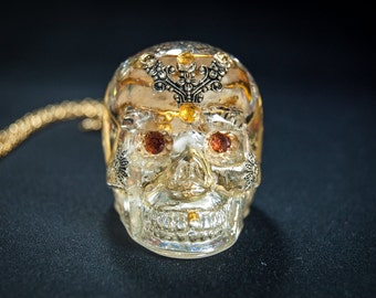 SPECIAL OFFER 20% OFF Skull pendant with gold plated chain 22k