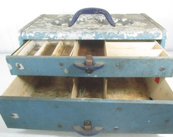 Vintage metal tackle box, Blue metal box, Fishing box, Tackle Box, Kennedy Tackle Box