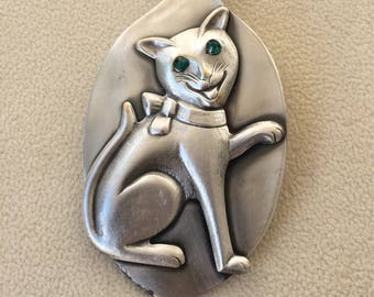 Cat pendant, cat necklace, cat jewelry, spoon pendant, spoon jewelry, spoon necklace, silverware jewelry, silverware necklace, cat lover