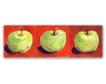 OOAK Folk Art Green Apples Autumn Fall Original Acrylic Painting  LLMartin