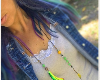Lure Necklace, Long Beaded Necklace, Colorful Jewelry, Fishing Lure.