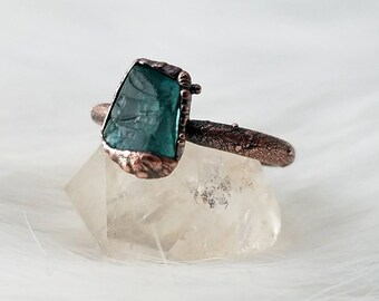 Size 4.5 blue apatite stacker ring electroformed copper crystal ring