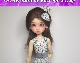"""OOAK  handmade set for Kaye Wiggs dolls.  """"Short & Sassy"""" outfit.  Fits  TOBI body only.   Dress, Belt, Bow, Stockings and petticoat."""